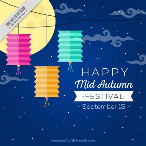 mid autumn happy mid autumn festival background vector free download