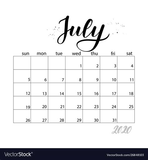 july monthly calendar   year royalty  vector