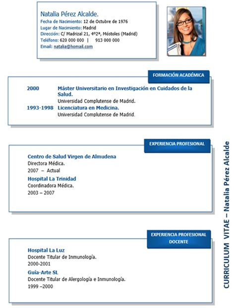 Curriculum Vitae Modelo Para Completar Medico Cv M 233 Dico Enfermera 23 Cvexpres