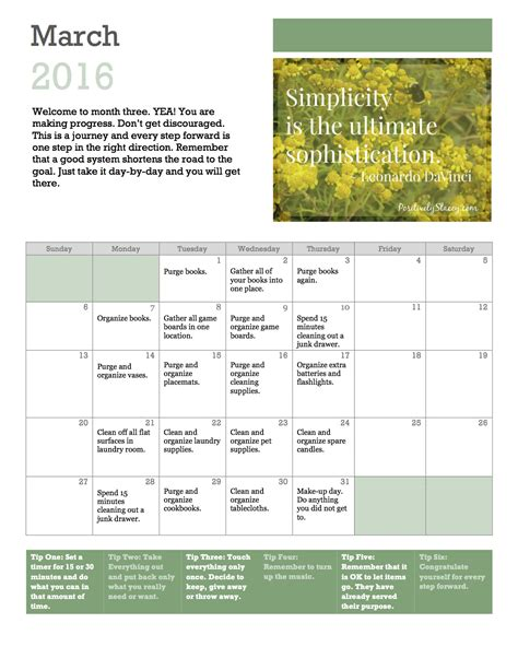 getting organized home organization plan march calendar