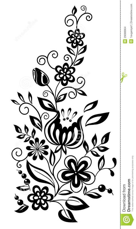 Black And White Flowers And Leaves Floral Design Stock
