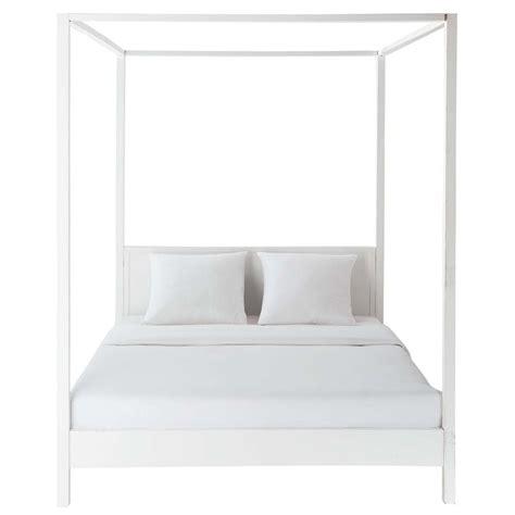 letto baldacchino legno bianco letto a baldacchino 160 x 200 cm bianco sporco in legno