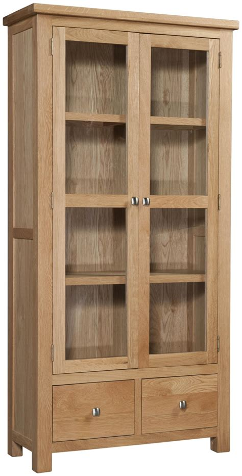 Abbey Oak Display Cabinet With Glass Doors Glass For Cabinets Doors