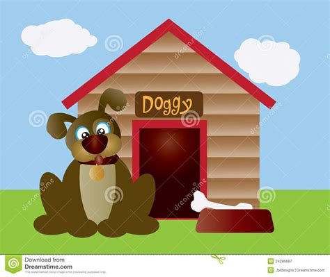 cute dog house cute puppy dog with dog house illustration royalty free stock photography image