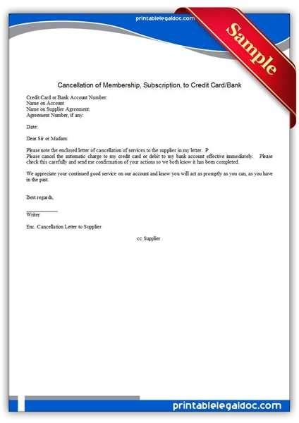 credit card cancellation letter template credit card cancellation letter format the best letter