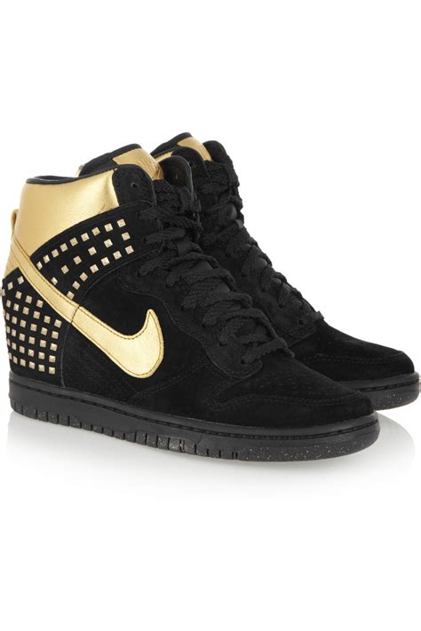 wedge nike sneakers lyst nike dunk sky hi suede and metallic leather wedge