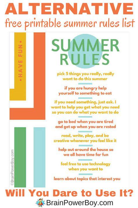 printable house rules list free printable summer rules list an alternative