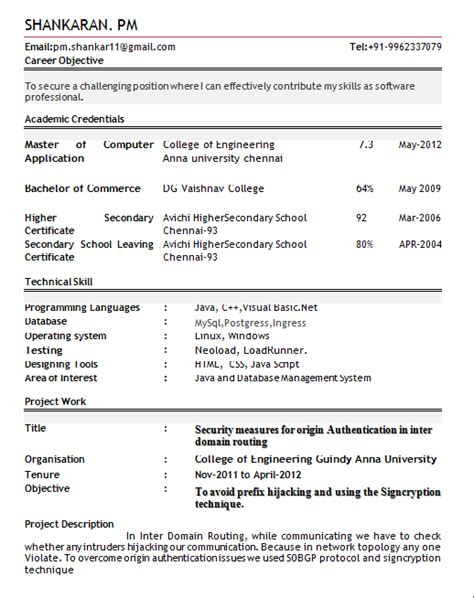 Sle Resume Format For Be Freshers Resume Templates