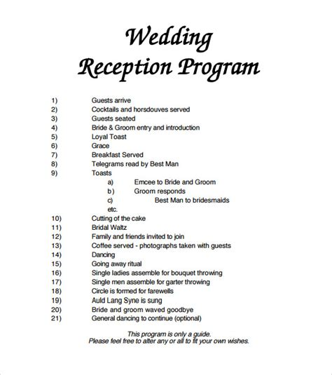 Wedding Reception Timeline Template by Sle Wedding Program Template 11 Documents In Pdf
