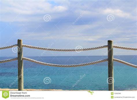 banister marine banister railing on marine rope and wood stock image