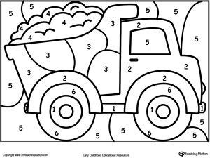 Truck Color By Number Coloring Pages | color by number truck pinterest coloring the kid and