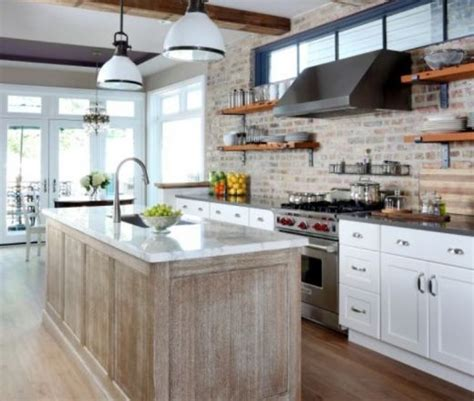 peach kitchen ideas exposed brick wall clerestory windows beams white cabs