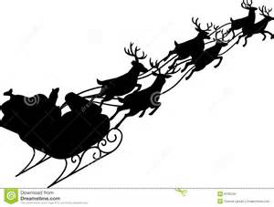 Illustration of santa and his reindeer sleigh in silhouette