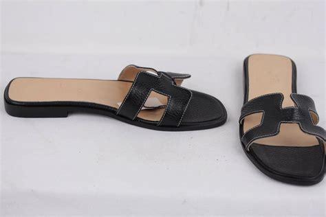 Sandal Flat Hermes1711 hermes black leather oran sandals flat shoes slides size 38 it for sale at 1stdibs