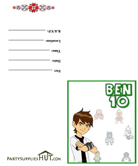 Ben 10 Birthday Invitation Cards Templates by Thank You Card Template From New Calendar