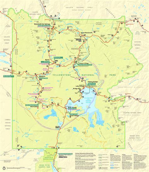 yellowstone national park map usa yellowstone cing map