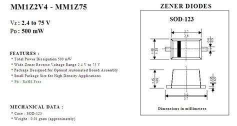 power mm1z20 smd 20v 0 5w st sod123 5k zener diode