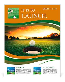 Golf Ball About To Fall Into The Cup At Sunset Flyer Template Design Id 0000010199 Golf Design Template