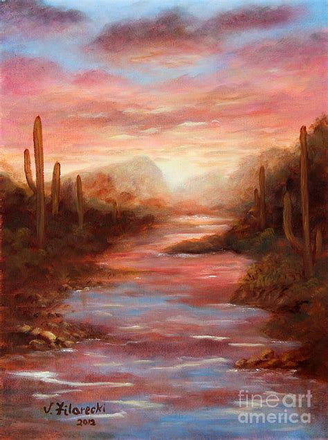 southwestern art sunrise after the rain painting by judy filarecki