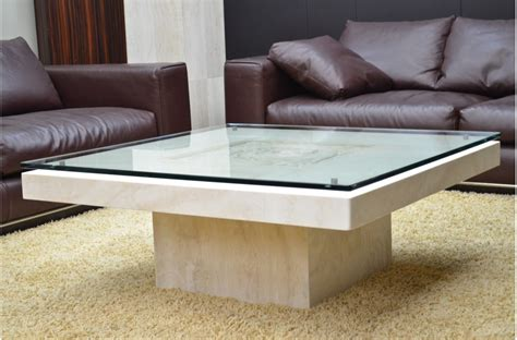 Marble Glass Coffee Table 100x100cm Travertine Marble Tempered Glass Coffee Table Antica