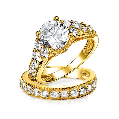 vintage style 925 silver 2ct cz engagement wedding ring set