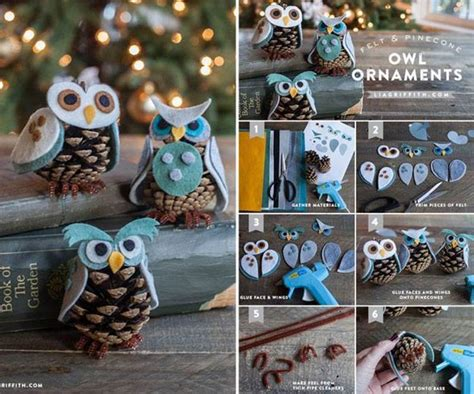 Holiday Decors by Creative Ideas Diy Felt And Pinecone Owl Ornaments