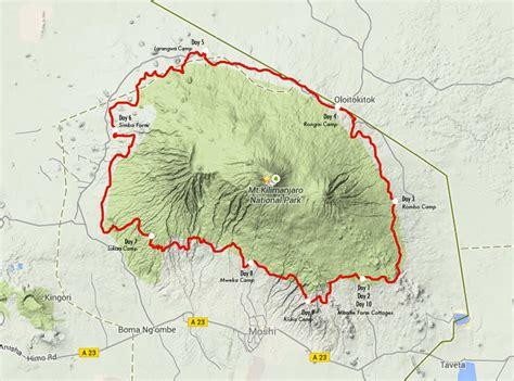 mt kilimanjaro map detailed itinerary kilimanjaro stage run