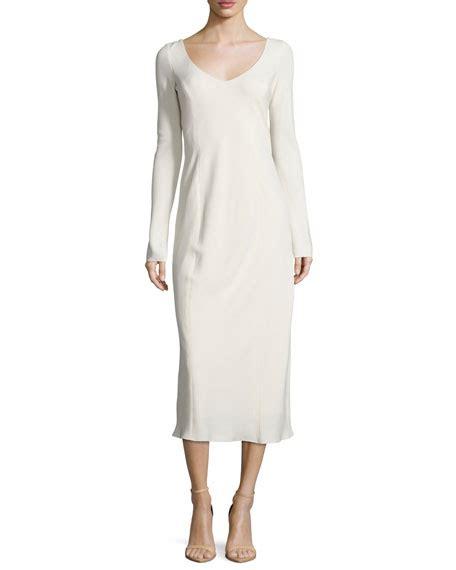the row asca sleeveless midi sheath dress in blue lyst the row nicola v neck midi sheath dress