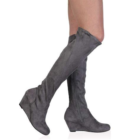 new womens grey suede wedge heel zip up stretch