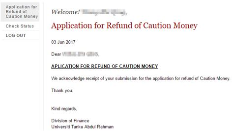 application letter for caution money refund from college utar refund of caution money dimplemakesperfect