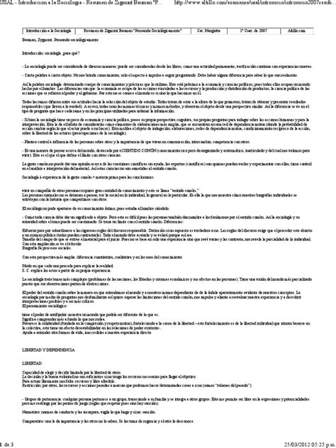 Zygmunt Bauman - Pensando Sociológicamente (Resúmen