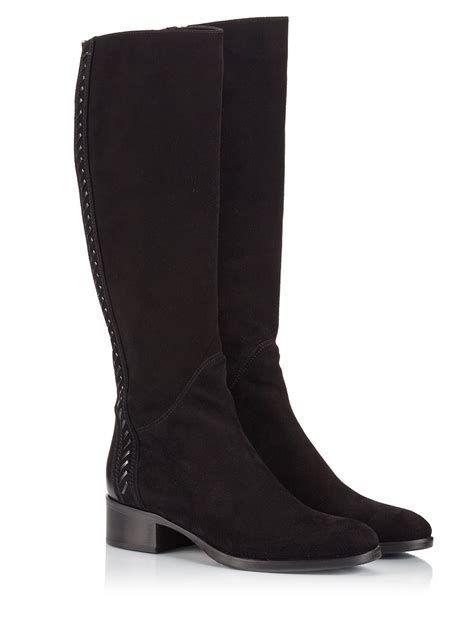 black suede knee high boots with heel le pep 233 black suede elasticated leather stitch detailed