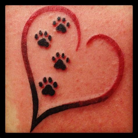 paw print heart tattoo paws possible tattoos pets pet