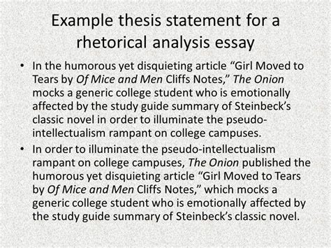 Rhetorical Analysis Essay How To by Rhetorical Analysis Thesis Statement Ppt