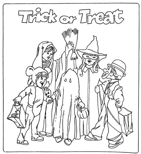 halloween coloring pages trick or treat mostly paper dolls too color this trick or treat page