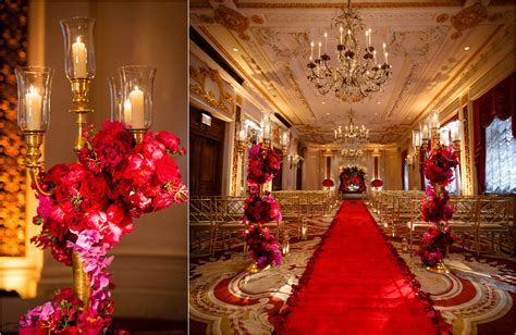 st regis nyc wedding pink red flowers roses bouwuet purple