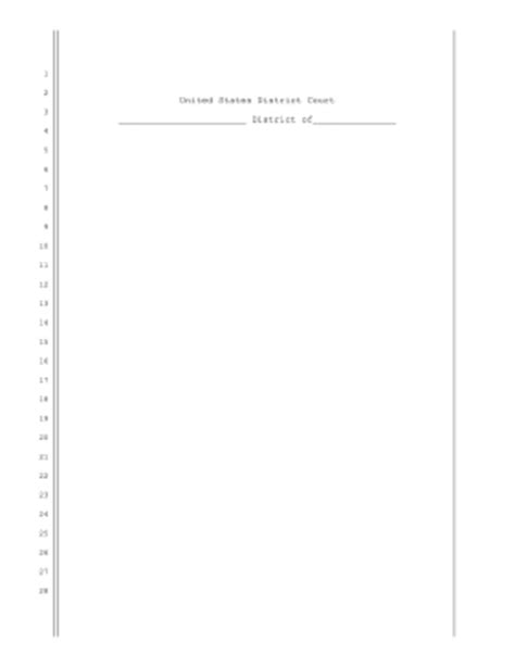 Court Pleading Template Printable Us District Court Pleading Paper Legal Pleading Template
