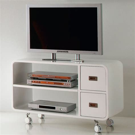 porta tv mobile mobile porta tv in legno bianco su ruote 95 cm