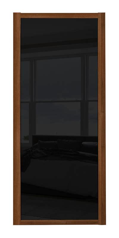 ellipse single panel walnut panel shaker single panel door with walnut frame and black glass panels