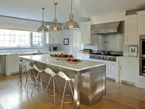 stainless steel island for kitchen stainless steel kitchen island with marble countertops and onda barstools transitional kitchen
