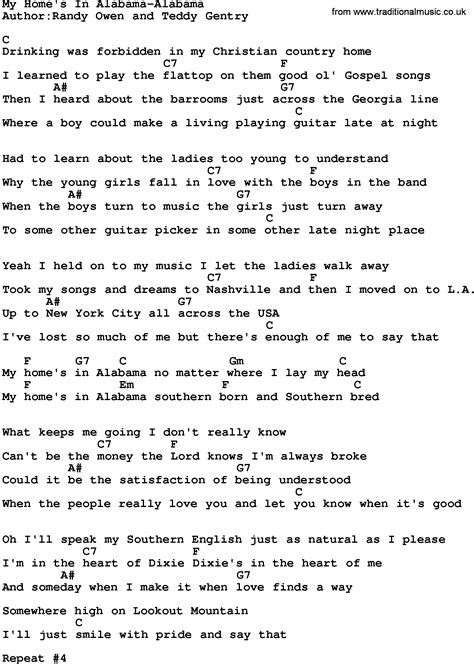 country my home s in alabama alabama lyrics and chords