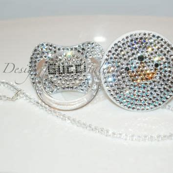 baby bling pacifier gucci made with from crystalolika on etsy