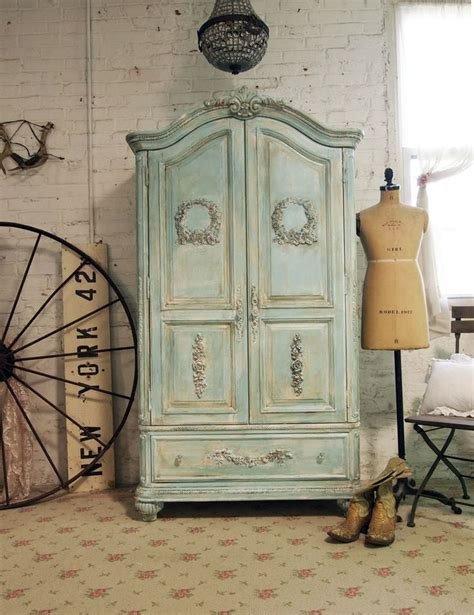 shabby chic armoire painted cottage chic shabby aqua romantic armoire am239