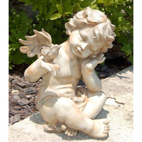 outdoor angel statues winged cherub with bird garden statues at hayneedle