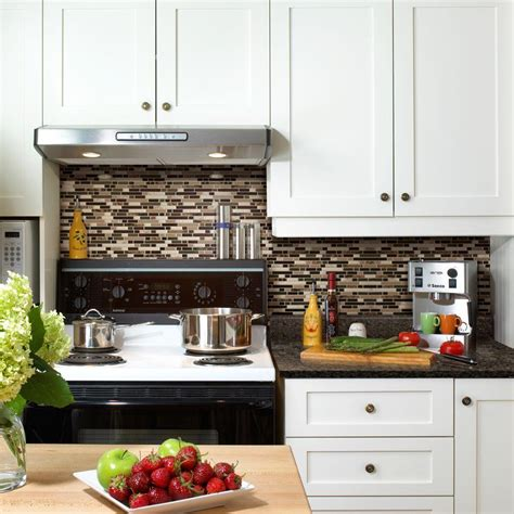 stick on kitchen backsplash tiles smart tiles 9 10 in x 10 20 in mosaic peel and stick