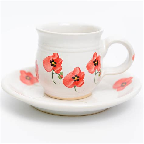 Handmade Espresso Cups - handmade poppy espresso cup with saucer by terry pottery