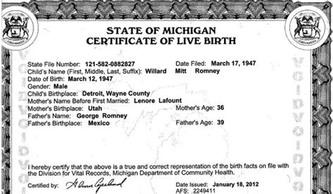State Of Michigan Birth Records Mitt Romney S Birth Certificate Genealogyblog
