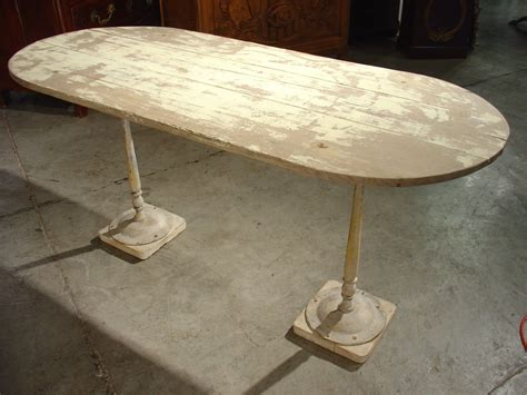 Oak Bistro Table Parcel Paint Oak Bistro Table With Antique Bases From Lelouvrefrenchantiques On Ruby
