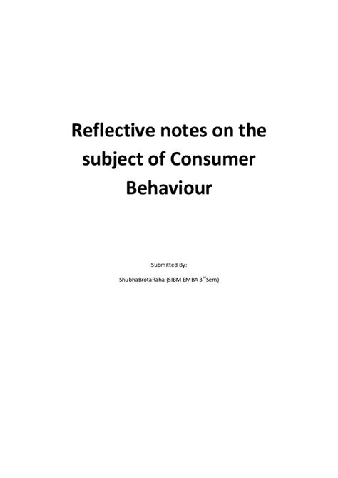 Consumer Behaviour Notes For Mba Free by Reflective Notes Consumer Behaviour