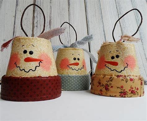 christmas crafts adult vintage clay pot snowman diy ornaments allfreechristmascrafts
